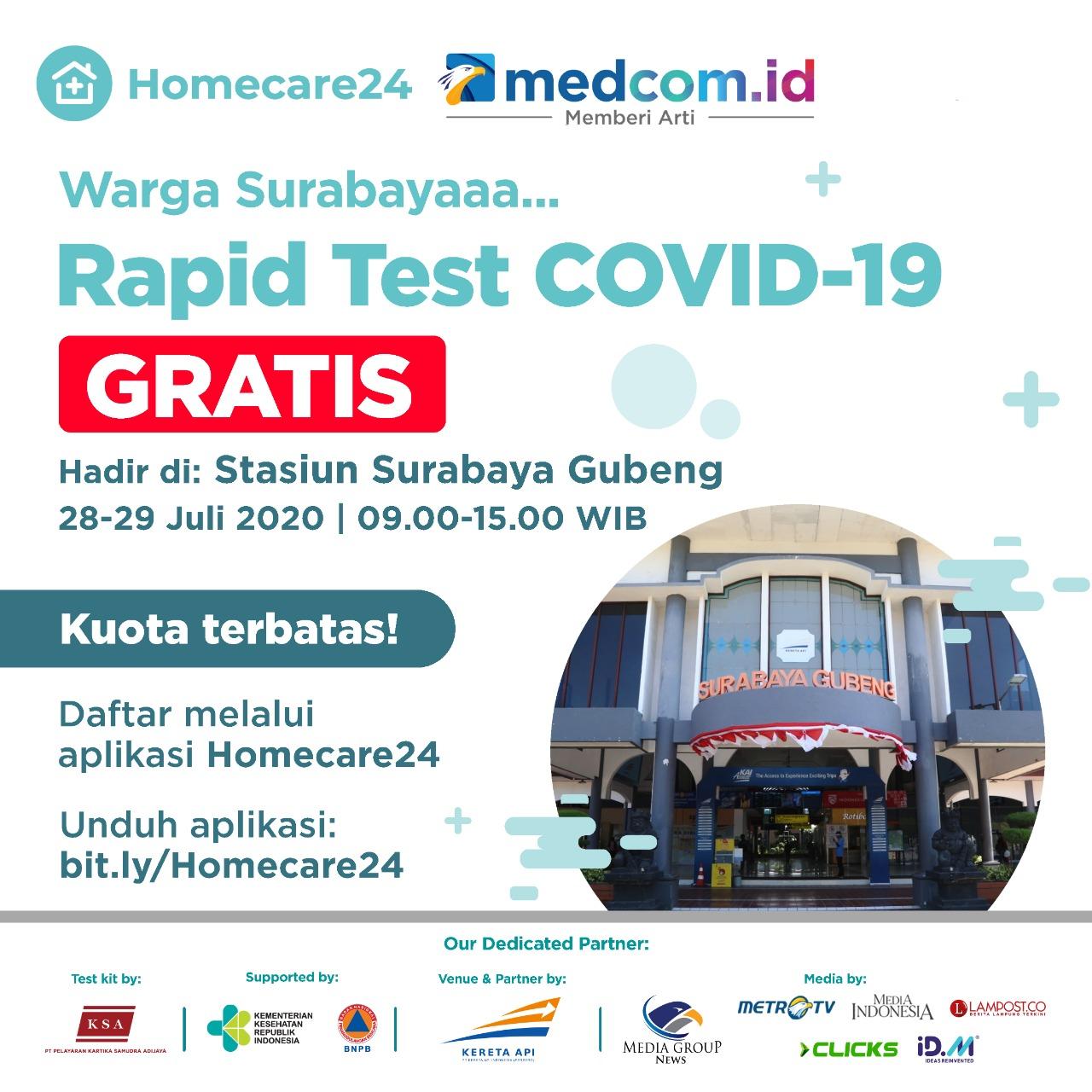 Bersama Homecare24, Clicks.id Gelar Rapid Test Gratis di Stasiun Gubeng, Ini Jadwalnya!