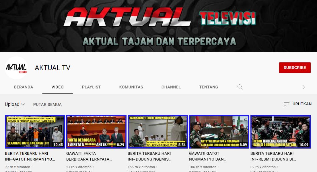 Aktual TV Produksi 765 Konten Provokatif, Penghasilan Rp2 Miliar